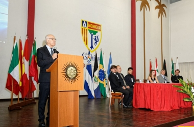 O reitor Toninho discursa (Foto: Divulgação/ Eduardo Rocha)