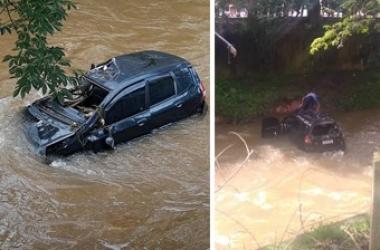 O carro no rio (Reproduções da web)