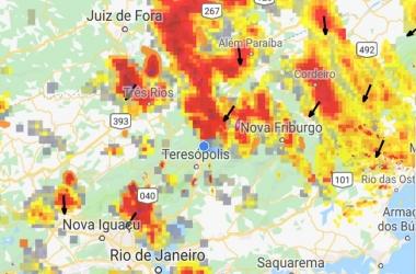 As áreas vermelhas indicam onde chove mais forte (Reprodução da web)