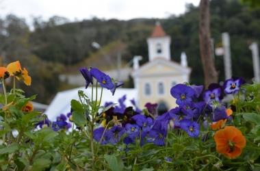 Flores em frente à capela de Santo Antônio, no Suspiro (Arquivo AVS)