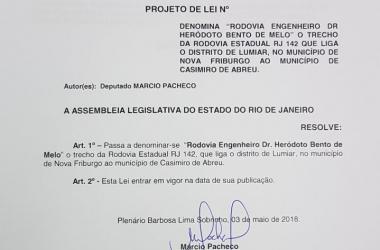 O projeto de lei assinado pelo deputado Marcio Pacheco (Reprodução)